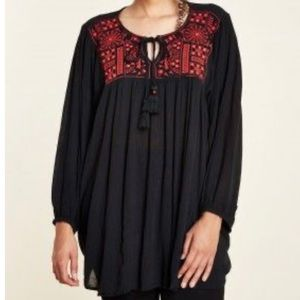 Earthbound blouse black with red embroidery